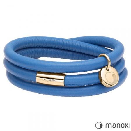 Niebieska bransoletka damska skórzana