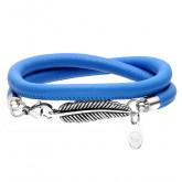 Niebieska bransoletka damska skórzana ze piórkiem