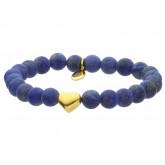 Niebieska bransoletka damska z kamieni naturalnych, złote serce