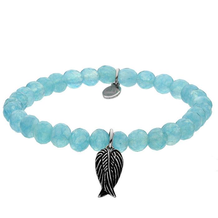 Niebieska bransoletka damska z kwarcu, zawieszka skrzydła