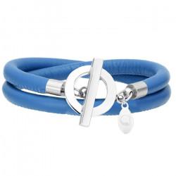 Niebieska bransoletka damska ze skóry
