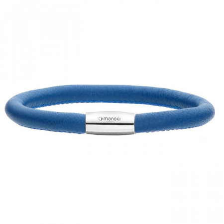 Niebieska bransoletka damska ze skóry naturalnej