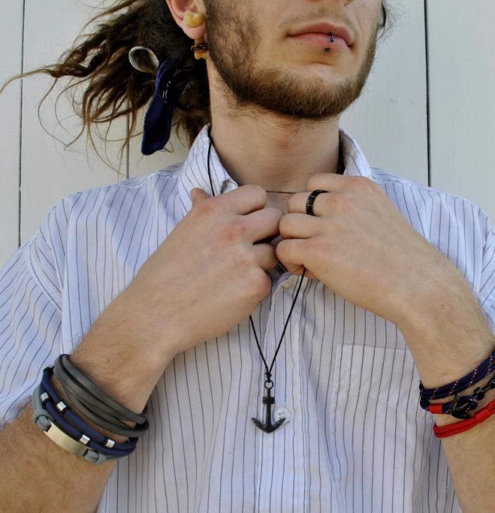 Niebieska bransoletka męska beads