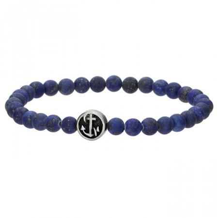 Niebieska bransoletka męska z naturalnego kamienia, kotwica
