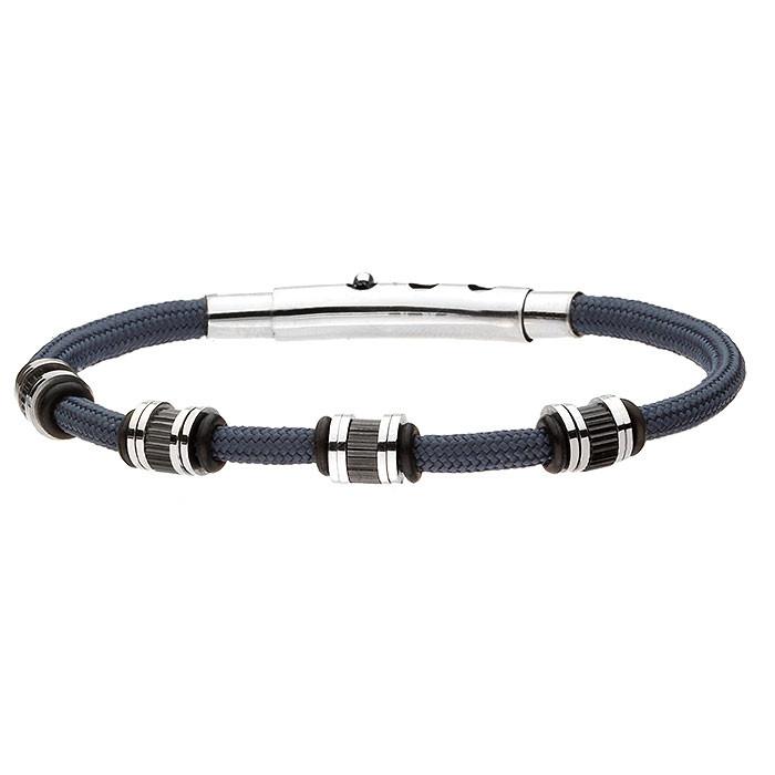Niebieska, męska bransoletka sznurkowa ozdobiona beadsami