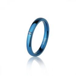 Niebieska obrączka damska z cyrkonią