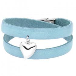Niebieska, skórzana bransoletka damska, baby blue