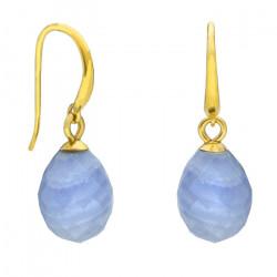 Niebieskie kolczyki wiszące z agatem