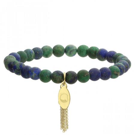 Niebiesko-zielona bransoletka damska z kamieni naturalnych, złoty chwost