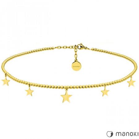 Niezwykły naszyjnik choker ozdobiony gwiazdkami, kolor złoty