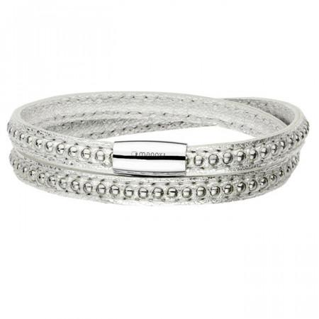 Oryginalna skórzana bransoletka damska w kolorze srebrnym