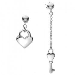 Oryginalne kolczyki damskie, kluczyk i kłódka, serduszko