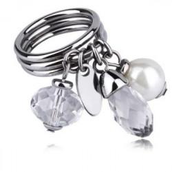 Oryginalny, damski pierścionek z perłą Swarovskiego