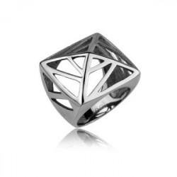 Oryginalny, stalowy pierścionek z ażurowym wzorem