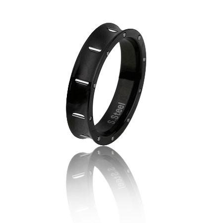 PA087B  czarna, uniwersalna obrączka ze stali szlachetnej
