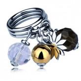 PA121 pierścionek z kwiatem i kamieniami