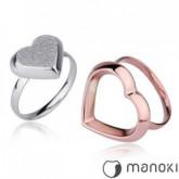PA125 piękny pierścionek damski z motywem serca, różowe złoto