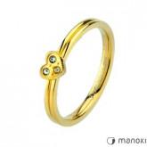 PA132G złoty pierścionek z serduszkiem i cyrkoniami