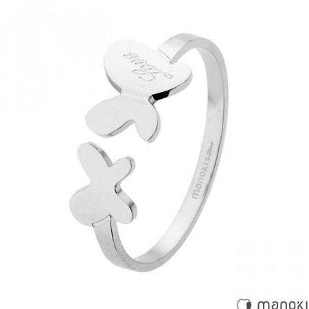 PA138 srebrna obrączka z motylkami
