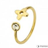 PA141G złota obrączka z cyrkonią i kwiatem