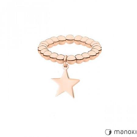 PA143R elastyczna obrączka z gwiazdką, różowe złoto