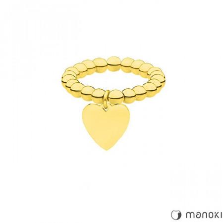 PA145G elastyczna złota obrączka z kuleczek z serduszkiem