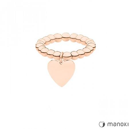 PA145R elastyczna obrączka z serduszkiem, różowe złoto