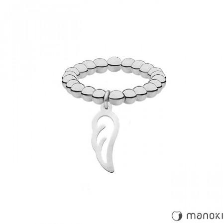 PA146 elastyczna srebrna obrączka z kuleczek z piórkiem