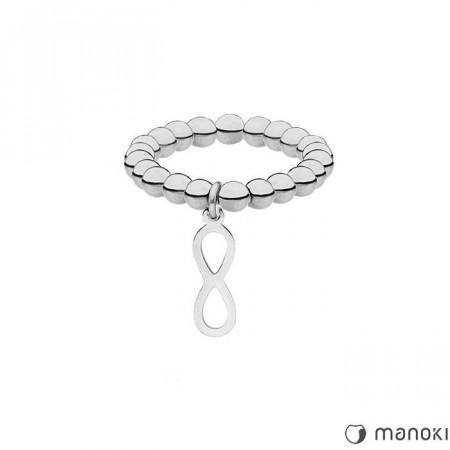 PA147 elastyczna, srebrna obrączka z kuleczek z motywem nieskończoności