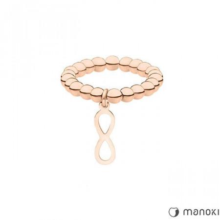 PA147R elastyczna obrączka z motywem nieskończoności, różowe złoto