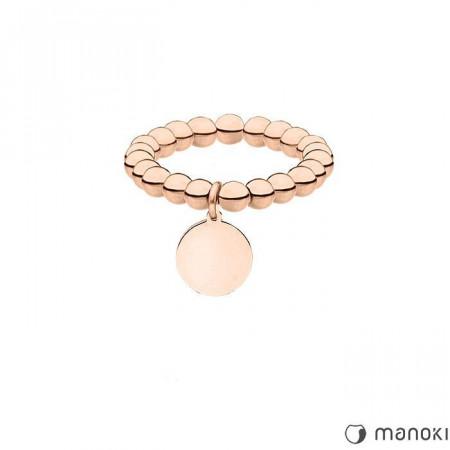 PA149R elastyczna obrączka z kuleczek z medalikiem, różowe złoto