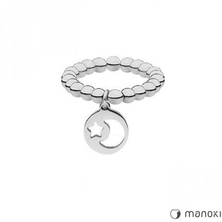 PA150 srebrna obrączka z kuleczek, motyw księżyca i gwiazdki