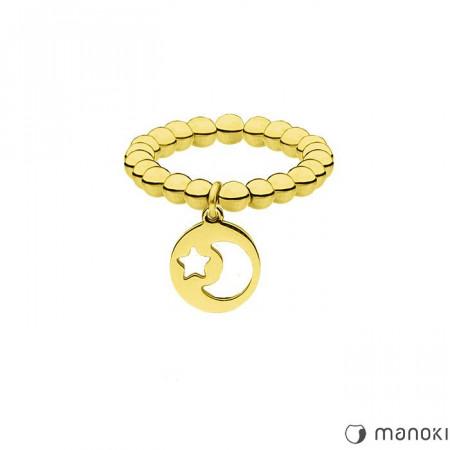 PA150G złota obrączka z kuleczek, motyw księżyca i gwiazd