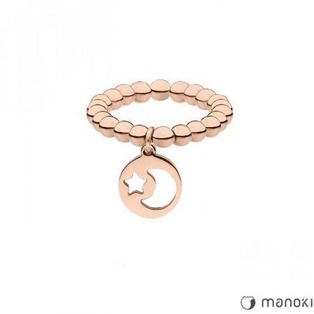PA150R obrączka z kuleczek, różowe złoto, księżyc i gwiazdka