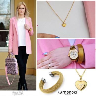 Pastelowo różowy płaszczyk