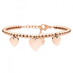 Piękna bransoletka damska z serduszkami, różowe złoto