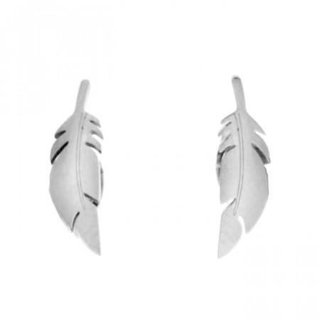 Piękne hipoalergiczne kolczyki piórka w kolorze srebrnym, stal szlachetna 316L