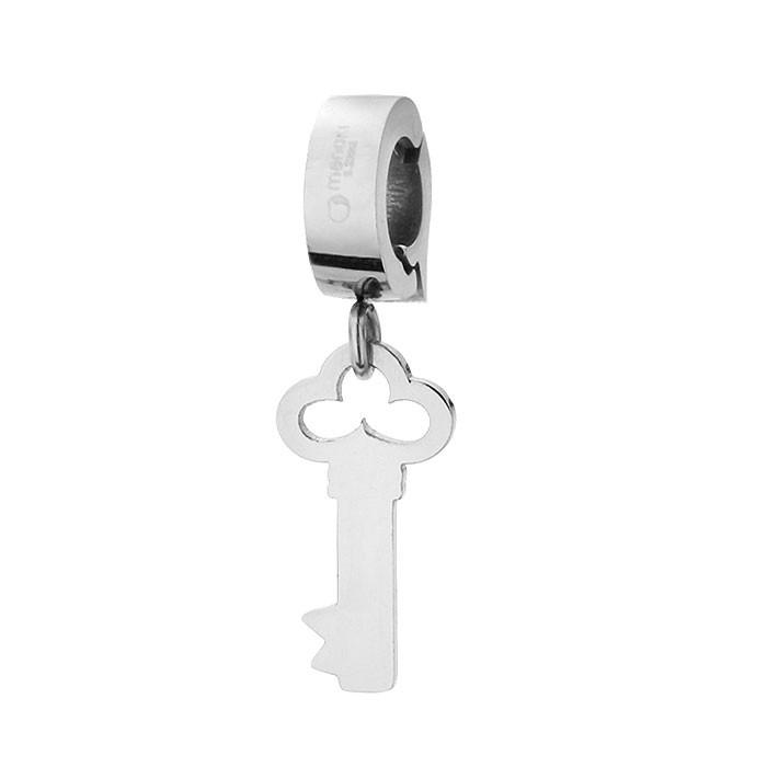 Piękny charms klucz, kolor srebrny