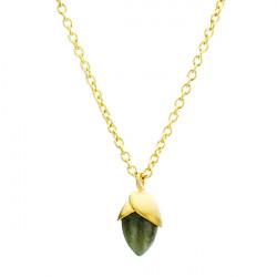 Piękny naszyjnik w kształcie żołędzia z zielonego labradorytu