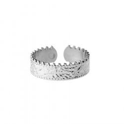 Pierścionek regulowany korona w stylu obrączki