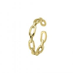 Pozłacana obrączka łańcuch pierścionek regulowany stal szlachetna