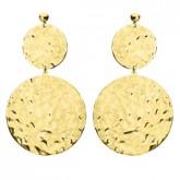 Pozłacane kolczyki z młotkowanymi medalionami