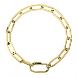 Pozłacany gruby łańcuch bransoletka damska ze stali