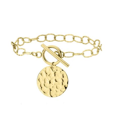 Pozłacany łańcuch bransoletka z medalionem stal szlachetna