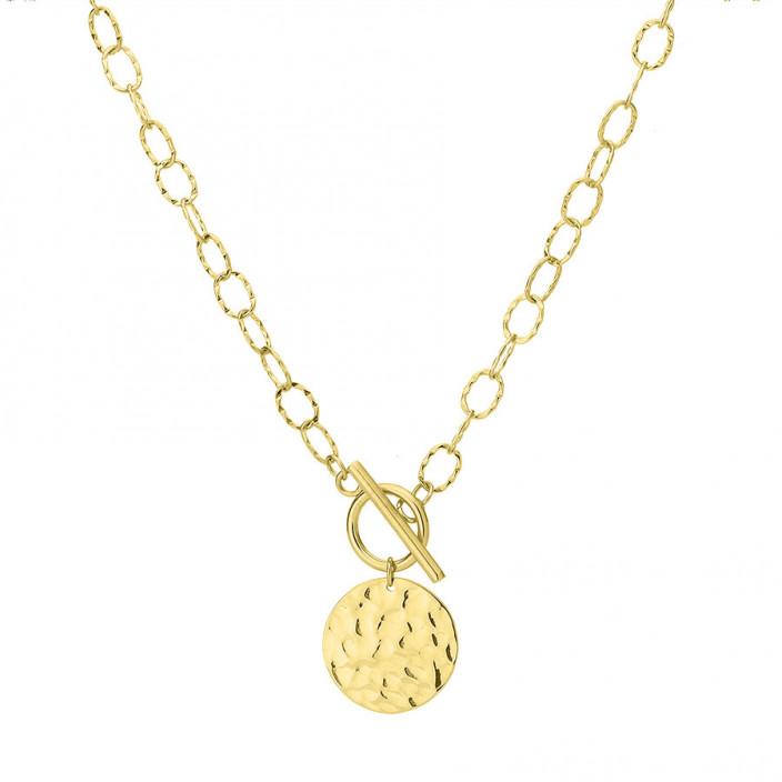Pozłacany łańcuch z medalionem naszyjnik stal szlachetna