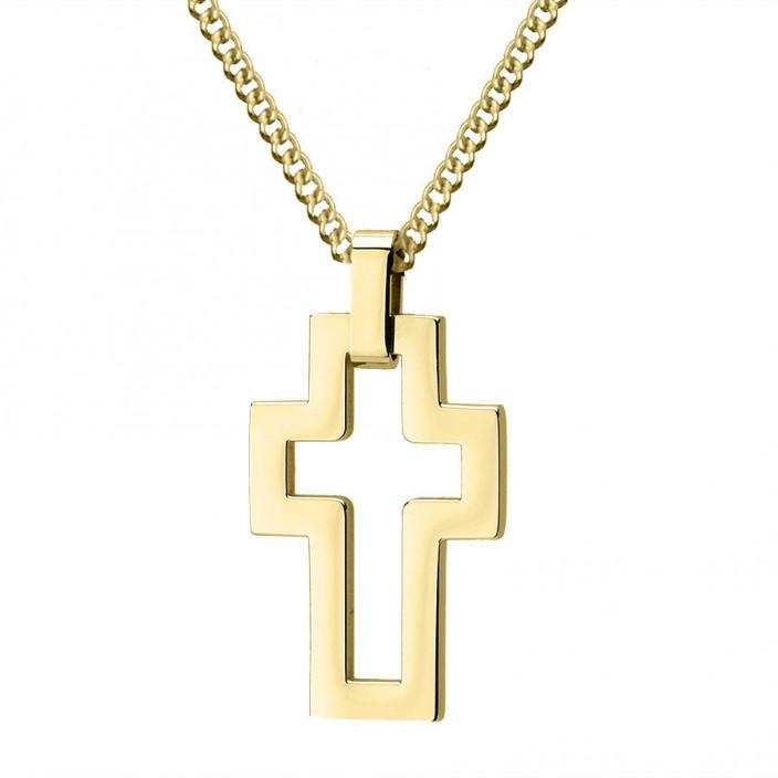 Pozłacany minimalistyczny krzyżyk na łańcuszku stal szlachetna