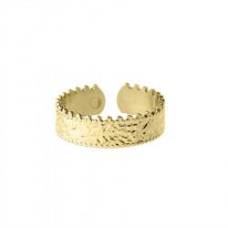Pozłacany pierścionek regulowany korona w stylu obrączki