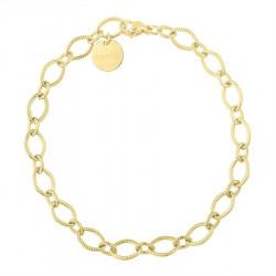 Pozłacany zdobiony łańcuch minimalistyczna bransoletka stal szlachetna