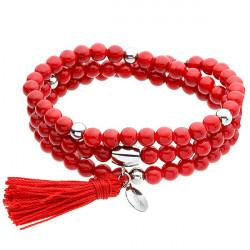 Red queen, jadeit, czerwona bransoletka z chwostem