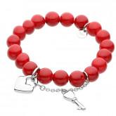 Red Queen, jadeit, czerwona bransoletka z kluczykiem i serduszkiem